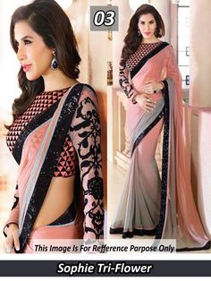 Buy Styloce Grey Georgette Saree by Arissa Enterprises, on Paytm, Price: Saree Designs Party Wear, Party Wear Sarees, Saree Wearing Styles, Saree Styles, Silk Saree Blouse Designs, Fancy Blouse Designs, Sarees For Girls, New Fashion Saree, Stylish Blouse Design