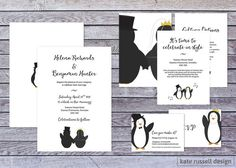 Wedding Invitations Penguin Theme by KateRussellDesign on Etsy