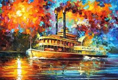STEAMBOAT — Palette knife Oil Painting on Canvas by Leonid Afremov - Size discount coupon as well - from Leonid Afremov. Saved to Seascape and. Knife Painting, Oil Painting On Canvas, Canvas Art, Cheap Wall Art, World Famous Artists, Steamboats, Palette Knife, Online Art Gallery, Graffiti