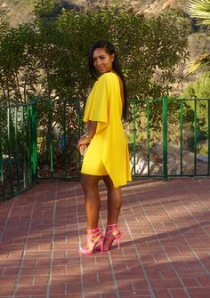 Wedding Attire: Zara Dress, Giuseppe Zanotti Heels - Went to my friends wedding this past Sunday and this is what I wore. Zara Dresses, Sexy Dresses, Cute Dresses, Black Women Fashion, Love Fashion, Fashion Looks, Yellow Fashion, Classy Outfits, Beautiful Outfits