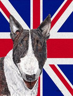 Bull Terrier with Engish Union Jack British Flag Flag Canvas House Size SC9861CHF