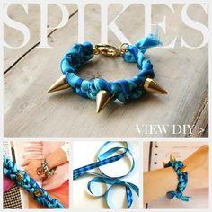 DIY Bracelet. Full and detail tutorial click this direct link http://www.trinketsinbloom.com/spike-bracelet-diy/