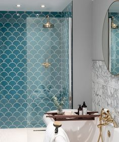 Syren™ Nordic Blue Mermaid Scale Tile | Topps Tiles #bathroom