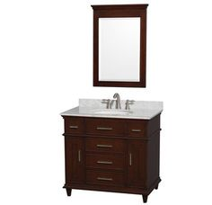 "View the Wyndham Collection WCV171736SUNRM24 36"" Free Standing Vanity Set with Hardwood Cabinet, Marble Top, Undermount Sink and 24"" Mirror from the Berkeley Collection at Build.com."