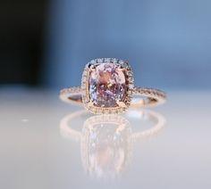 1.63ct Cushion peach champagne sapphire 14k rose gold diamond ring engagement ring via Etsy