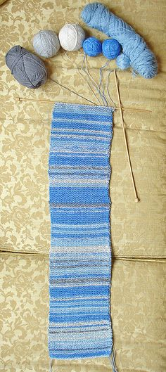 Sky Scarf.  Only two rows a day in the color most representative of the sky that day.  Check it out at LeafcutterDesigns.  This is going to be my first knitting project in years!