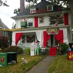 """Check out this project on RYOBI Nation - Since my wife's favorite holiday is Halloween, we do a lot of decorating and have a big party.  Each year our neighbors and friend's ask us,""""How are you going to top this next year?""""  Consequently, it has turned into this! Since we didn't have any Funhouse /Carnevil themed decorations, we built everything from a roller coaster, to a Funhouse sign, a ticket booth, a Jack in the Box, animal cages, funhouse mirrors, etc.  Getting everything to withstand…"""