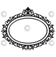 free clipart oval frames | Decorative frame stock vector clipart, Decorative black frame on the ...