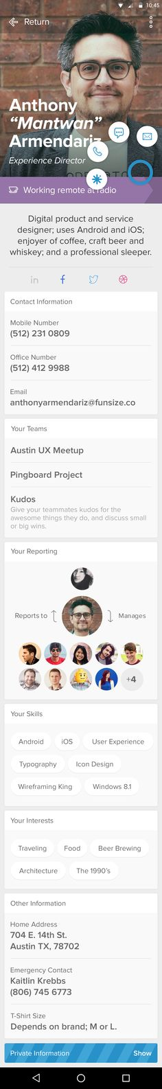 Pingboard android profile viewing own ping active