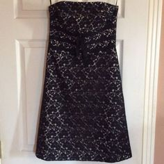 White House Black Market black lace dress Gorgeous dress that is strapless, fully lined in off-white with a black lace overlay. White House Black Market Dresses Strapless
