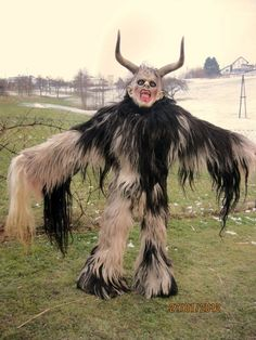 Krampus, the German demon of Christmas. He would come and take children who'd been bad to his lair where they would most assuredly be EATEN.   So, Merry Krampus!!!
