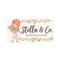 Premade Logo & Blog Header - Girl with Ducklings Premade Logo Design & Blog Header - Customized with Your Business Name!