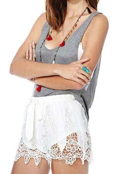 abaday Asymmetric Lace Drawstring Sheer White Shorts - Fashion Clothing, Latest Street Fashion At Abaday.com
