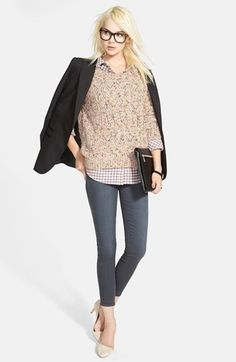 Hinge Crop Sweater, Button Back Shirt, Trouvé Jacket & Paige Denim Skinny Ankle Jeans  available at #Nordstrom