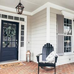 Navy blue front door color is Charcoal Blue in Satin by and pairs nicely with Benjamin Moore Revere Pewter siding and Graystone shutters. Trim and blue porch ceiling is Sherwin Williams pearly white and misty. Exterior Paint Colors For House, Paint Colors For Home, House Shutter Colors, Navy House Exterior, Exterior Shutter Colors, Exterior Paint Ideas, Outdoor Paint Colors, Farmhouse Exterior Colors, Exterior Paint Color Combinations