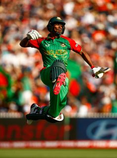 Mahmudullah leaps in the air to celebrate his century, New Zealand v Bangladesh, World Cup 2015, Group A, Hamilton, March 13, 2015