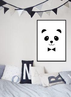 Panda Print Nursery Art Nursery Monochrome Source by
