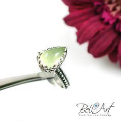 Pierścionek z frenitem, biżuteria autorska Bell -Art, silver ring