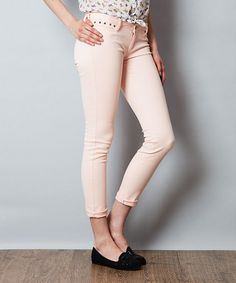 Look what I found on #zulily! Salmon Studded Cropped Jeans #zulilyfinds