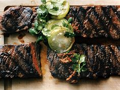 Grilled Skirt Steaks with Tomatillos Two Ways Recipe.rated one of Epicurious best steak recipes Steak Recipes, Grilling Recipes, Cooking Recipes, Cooking Tips, Grilling Tips, Grilled Skirt Steak, Grilled Meat, Grilled Steaks, Good Food
