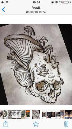 Mushrooms growing from skull / decay / - Zeichnen - Mushrooms Tattoo Sketches, Tattoo Drawings, Drawing Sketches, Dark Art Drawings, Cool Drawings, Tatoo Art, Body Art Tattoos, Mushroom Tattoos, Totenkopf Tattoos