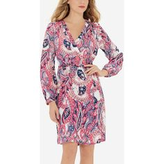 The Limited Printed Wrap Look Dress Print ($90) ❤ liked on Polyvore featuring dresses, print, wrap style dress, tall wrap dress, full sleeve dresses, tall dresses and petite wrap dress