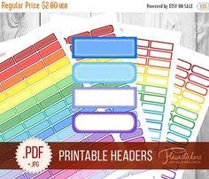 SALE Printable Header Planner Stickers Headers by FleurStickers