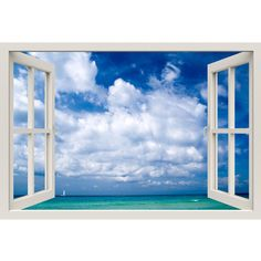 Window Frame Mural Beautiful Sea Huge size Peel and Stick