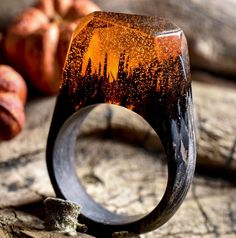 Lilac Flames A Ring Made With Wenge Wood A Dark Tropical Timber - Inside each of these wooden rings is a beautiful hidden world