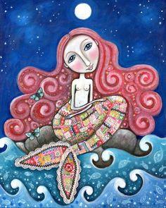 "Mermaid art print whimsical folk art romantic wall decor women girl red hair patchwork mixed media painting - ""Plenty of Fish In the Sea"" by LindyLonghurst on Etsy https://www.etsy.com/listing/103222812/mermaid-art-print-whimsical-folk-art"