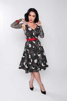 Pinup Couture Havana Nights Dress in Moon Maiden Print | Vintage Style Dress | Pinup Girl Clothing