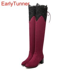 Brand New Sexy Lace Women Thigh High Riding Boots Black Red Blue Lady Over the Knee Shoe Chunky Heel ET07 Plus Big size 32 46 10  Price: 54.44 & FREE Shipping  #staysafe #practicesafetyguidlines #fashion|#sport|#tech|#lifestyle Black Riding Boots, Black Boots, Chunky Heels, Thigh Highs, Red And Blue, Calves, Tech, Brand New, Free Shipping