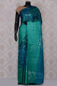 Teal #blue fancy printed #tussar #saree with turquoise blue border-SR18596-#PURE TUSSAR SILK SAREE