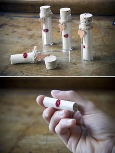 Message in a bottle. Cool way to invite people to a pirate themed party. Or just for fun