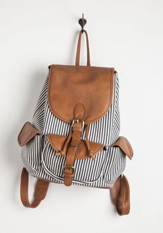 Pack to the Drawing Board Backpack. After gathering supplies in this striped canvas backpack, youre off to the architecture studio! #multi #modcloth