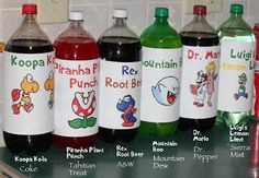 Love the custom soda bottles for Mario characters.