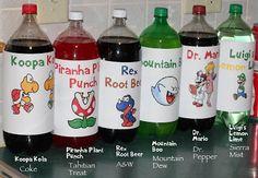 Love the custom soda bottles for Mario characters.