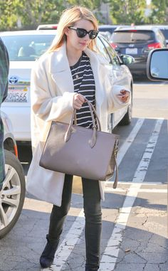 Emma Roberts from Celebs in Coats  The American Horror Story actress sports a warm cream coat and dove gray tote for a casual day out in LA.