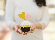fabric heart cupcake topper
