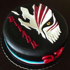 Bleach cake by Bolos aos Pedaços Black Butler Cake, Ichigo Et Rukia, Pond Cake, Anime Cake, Mini Tortillas, Cool Cake Designs, Beautiful Birthday Cakes, Little Cakes, Birthday Treats