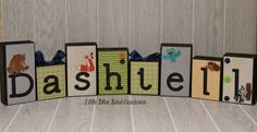 Personalized wood blocks  childs name by littlebluebirdcreate