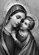 Gráfico gratis de punto de cruz para descargar en pdf, imprimir y bordar dibujo de Virgen María con Niño Jesús