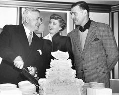 Barbara Stanwyck with Clark Gable and director Clarence Brown on the set of To Please A Lady 1950.