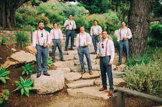 suspenders groomsmen and must have matching shoes like groom's. Groomsmen Attire Suspenders, Casual Groomsmen, Blue Groomsmen, Groom Outfit, Groom Attire, Big Sur Wedding, Wedding Men, Wedding Suits, Wedding Attire