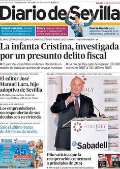 Los Titulares y Portadas de Noticias Destacadas Españolas del 25 de Mayo de 2013 del Diario de Sevilla ¿Que le parecio esta Portada de este Diario Español?