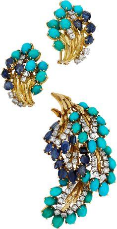 Diamond, Sapphire, Turquoise, Gold Jewelry Brooch & Earrings (=)
