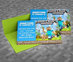 DIY Minecraft Birthday Invite  // I used these and they were a hit. The only invites boys want to keep!