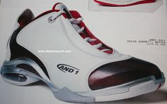 And1 And 1 KG Kevin Garnett II Basketball Shoe White Maroon 2003