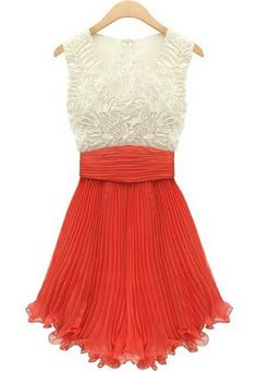 Vestido gasa plisado-Blanco&Coral