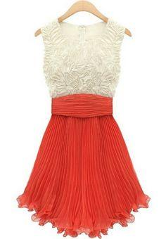 Red Sleeveless Embroidery Pleated Chiffon Dress - Sheinside.com